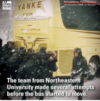 Basketball, Memes, and Free: FOX  EWS  Philadelphia, Pennsylvania  Northeastern WBB via Storyfu  hanne  ww. ankealine.us  The team from Northeastern  University made several attempts  before the bus started to move. TALK ABOUT TEAMWORK: The bus for the Northeastern University women's basketball team got stuck in the snow, so they worked together to free it.