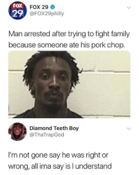 Family, Memes, and Diamond: FOX  FOX 29  29  FOX29philly  Man arrested after trying to fight family  because someone ate his pork chop.  Diamond Teeth Boy  @ThaTrapGod  I'm not gone say he was right or  wrong, all ima say is l understand 😂lol