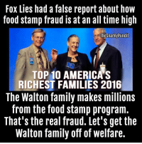 Fox LIes *corrected* their lies re: Food stamp abuse but, here's the real fraudsters.  < Snarky Pundit> LIKE and Follow for more.: Fox Lies had a false report about how  food stamp fraud is at an all time high  TheSnarky Pundit  TOP 10 AMERICAS  RICHEST FAMILIES 2016  The Walton family makes millions  from the food stamp program.  That's the real fraud. Let's get the  Walton family off of welfare. Fox LIes *corrected* their lies re: Food stamp abuse but, here's the real fraudsters.  < Snarky Pundit> LIKE and Follow for more.