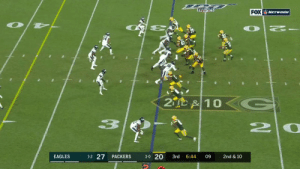 .@AaronRodgers12 out here putting defenders on skates! #GoPackGo   #PHIvsGB on @NFLNetwork | @NFLonFOX | @PrimeVideo How to watch: https://t.co/32PKxts362 https://t.co/NnEg2OqlKs: FOX NETwaRK  OT  2  2D &10  20  1-2 27  3-0 20  EAGLES  PACKERS  3rd  6:44  09  2nd & 10 .@AaronRodgers12 out here putting defenders on skates! #GoPackGo   #PHIvsGB on @NFLNetwork | @NFLonFOX | @PrimeVideo How to watch: https://t.co/32PKxts362 https://t.co/NnEg2OqlKs