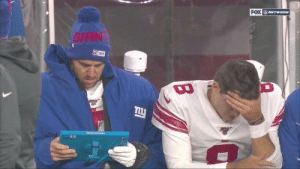 "Eli Manning: ""I see here that you didn't have one single receiver use their helmet to catch the ball...you know that's how you beat the Patriots right?""  Daniel Jones: ""Ugh...I know. I forgot."" https://t.co/kQy65K6JMM: FOX NETWORK  GIAN  叫925  Moo Srloce  TARA Eli Manning: ""I see here that you didn't have one single receiver use their helmet to catch the ball...you know that's how you beat the Patriots right?""  Daniel Jones: ""Ugh...I know. I forgot."" https://t.co/kQy65K6JMM"