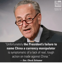 """""""When the President fails to label them a currency manipulator, he gives them a green light to steal our jobs and wealth time and time again,"""" Senator ChuckSchumer wrote in a statement. For more on this story, visit FoxNews.com.: FOX  NEWS  (AP Photo/J. Scott  Applewhite, File)  """"Unfortunately the President's failure to  name China a currency manipulator  is symptomatic of a lack of real, tough  action on trade against China.""""  Sen. Chuck Schumer """"When the President fails to label them a currency manipulator, he gives them a green light to steal our jobs and wealth time and time again,"""" Senator ChuckSchumer wrote in a statement. For more on this story, visit FoxNews.com."""