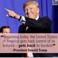 """Today at the Department of Homeland Security, President Donald J. Trump asserted that """"we're going to restore the rule of law in the United States."""": FOX  NEWS  """"Beginning today, the United States  of America gets back control of its  borders gets back its borders""""  President Donald Trump Today at the Department of Homeland Security, President Donald J. Trump asserted that """"we're going to restore the rule of law in the United States."""""""