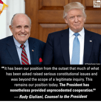 "Memes, News, and Fox News: FOX  NEWS  chan neI  AP Photo/Carolyn Kaster  ""It has been our position from the outset that much of what  has been asked raised serious constitutional issues and  was beyond the scope of a legitimate inquiry. This  remains our position today. The President has  nonetheless provided unprecedented cooperation.""  Rudy Giuliani, Counsel to the President DEVELOPING: President @realdonaldtrump on Tuesday submitted written answers to Special Counsel Robert Mueller's questions in the ongoing Russia investigation."