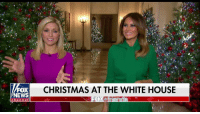 "Christmas, Melania Trump, and Memes: FOX  NEWS  CHRISTMAS AT THE WHITE HOUSE  channel First lady Melania Trump gave Fox News an exclusive inside look at the striking red-themed White House Christmas décor that she says represents the ""bravery, heart, and patriotism"" of the country."