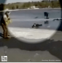 Frozen, Memes, and News: FOX  NEWS  Courtesy: Brandon Jackson Watch this amazing rescue of a 16-year-old girl stuck in a frozen lake in Maine after she was thrown from a snowmobile. She was saved by men who were ice fishing nearby and rushed to pull her from the icy waters.