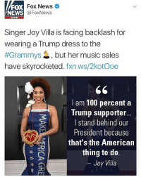 Grammys, Memes, and Wshh: Fox News  FOX  @Fox News  NEWS  Com  Singer Joy Villa is facing backlash for  wearing a Trump dress to the  #Grammys 4, but her music sales  have skyrocketed  fxn.ws/2kotooe  I am 100 percent a  Trump supporter.  I stand behind our  President because  that's the American  thing to do  Joy Villa Thoughts on this?! 🤔🇺🇸 JoyVilla DonaldTrump WSHH