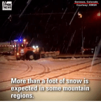 TOO EARLY FOR A SNOW DAY? Scattered snowfall up to 10 inches closed highways in Colorado and Wyoming on Monday.: FOX  NEWS  Genesee, Colorado  Courtesy: KMGH  More than a foot of snow is  expected in some mountain  regions. TOO EARLY FOR A SNOW DAY? Scattered snowfall up to 10 inches closed highways in Colorado and Wyoming on Monday.