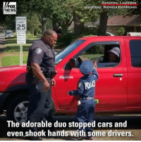 Birthday, Cars, and Memes: FOX  NEWS  Gonzales,Louisiana  ouftesy: Natasha Henderson  SPEED  LIMIT  25  No toud  Noise  The adorable duo stopped cars and  even shook hands with some drivers. A Louisiana boy got an early birthday present to remember after he became one of his town's honorary cops for a day.