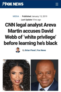 Well well well: FOX NEWS  MEDIA Published January 15, 2019  Last Update 9 hrs ago  CNN legal analyst Areva  Martin accuses David  Webb of white privilege'  before learning he's black  By Brian Flood Fox News Well well well