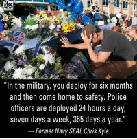 "Memes, News, and Police: FOX  NEWS  PEACE  ""In the military, you deploy for siX months  and then come home to safety. Police  officers are deployed 24 hours a day,  seven days a week, 365 days a year.""  _ Former Navy SEAL Chris Kyle In an Op-Ed, an officer who responded to the Dallas shooting reflects on last year's ambush and recalls a conversation he had with the late Navy SEAL Chris Kyle about police work. For more on this story visit foxnews.com."