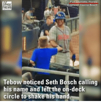 "God, Memes, and News: FOX  NEWS  Port Charlotte, Florida  Courtesy: lleanna Bosch  Tebow noticed Seth Bosch calling  his name and left the on-deck  circle to shake his hand ""I think God brought Seth and Tim together."" @TimTebow stopped his practice to shake the hand of a young fan with autism. Moments later, he hit a home run."