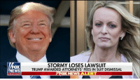 JUST IN: A federal judge has dismissed a defamation lawsuit brought by Stormy Daniels against President Trump, rules Daniels is liable for the president's attorney's fees.: FOX  NEWS  STORMY LOSES LAWSUIT  TRUMP AWARDED ATTORNEYS' FEES IN SUIT DISMISSAL  FOX NEWS ALERT  channe JUST IN: A federal judge has dismissed a defamation lawsuit brought by Stormy Daniels against President Trump, rules Daniels is liable for the president's attorney's fees.
