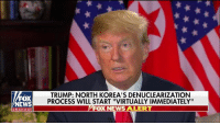 "The world has taken a big step back from potential nuclear catastrophe. Kim Jong-un wants to get something done, I want to get something done – I think we'll get it done!: FOX  NEWS  TRUMP: NORTH KOREA'S DENUCLEARIZATION  PROCESS WILL START ""VIRTUALLY IMMEDIATELY""  FOX NEWS ALERT  channel The world has taken a big step back from potential nuclear catastrophe. Kim Jong-un wants to get something done, I want to get something done – I think we'll get it done!"