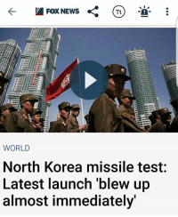 America, Funny, and Instagram: Fox NEWS  Tt  WORLD  North Korea missile test  Latest launch blew up  almost immediately Hahahahaha CUCKS! 🔴www.TooSavageForDemocrats.com🔴 JOINT INSTAGRAM: @rightwingsavages Partners: 🇺🇸👍: @The_Typical_Liberal 🇺🇸💪@theunapologeticpatriot 🇺🇸 @DylansDailyShow 🇺🇸 @keepamerica.usa 🇺🇸@Raised_Right_ 🇺🇸@conservative.female 😈 @too_savage_for_liberals 🇺🇸 @Conservative.American DonaldTrump Trump 2A MakeAmericaGreatAgain Conservative Republican Liberal Democrat Ccw247 MAGA Politics LiberalLogic Savage TooSavageForDemocrats Instagram Merica America PresidentTrump Funny True SecondAmendment