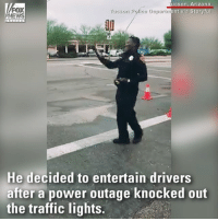 So you think you can dance, Officer? A police officer in Tucson, Arizona, was spotted getting into his groove as he directed traffic after a power outage on the city's east side.: FOX  NEWS  ucson, Arizona  rucson Police Department via Storyful  10  He decided to entertain drivers  after a power outage knocked out  the traffic lights. So you think you can dance, Officer? A police officer in Tucson, Arizona, was spotted getting into his groove as he directed traffic after a power outage on the city's east side.