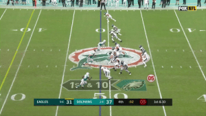 The @MiamiDolphins intercept the Eagles' hail mary attempt to end the game. #FinsUp #PHIvsMIA https://t.co/UGOJyGC5kd: FOX NFL  050  1S &10  5-6 31  2-9 37  05  EAGLES  DOLPHINS  :02  1st & 10  4th The @MiamiDolphins intercept the Eagles' hail mary attempt to end the game. #FinsUp #PHIvsMIA https://t.co/UGOJyGC5kd