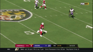 Memes, Nfl, and Sports: FOX NFL  1-0 20  CARDINALS  4th 14:45  RAVENS  1st & 10  O-O-1  Chris Thompson: 4 rec, 32 yds Trey Quinn: 3 rec, 2  NFL  WAS ush, 25 yds, 1 TD; 2 rec, 7 yds This @K1 to @LarryFitzgerald connection has been 🔥  📺: FOX 📱: NFL app // Yahoo Sports app Watch on mobile: https://t.co/y8YLGKmeTf https://t.co/Jw7jW1NH9L