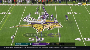 "THERE GOES DIGGS AGAIN!  51-yard TD for @StefonDiggs' second of the day. #PHIvsMIN  📺: FOX 📱: NFL app // Yahoo Sports app Watch free on mobile: https://t.co/xLc7ljuEnj https://t.co/powpzZ9yb7: FOX NFL  1ST&10  5  4 0  3-2 17  3-2 3  EAGLES  VIKINGS  2nd  9:39  11  FOXSPORTS.COM es, Madden 2020 and ""Scarface"" have in common? FOX Sports NFL Analyst  FOX SPORTS THERE GOES DIGGS AGAIN!  51-yard TD for @StefonDiggs' second of the day. #PHIvsMIN  📺: FOX 📱: NFL app // Yahoo Sports app Watch free on mobile: https://t.co/xLc7ljuEnj https://t.co/powpzZ9yb7"