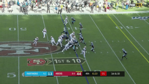 .@49ers got 50 👀  Mostert goes 41 yards for SF's seventh TD of the game. #CARvsSF #GoNiners  📺: FOX 📱: NFL app // Yahoo Sports app Watch free on mobile: https://t.co/a16R5wPShJ https://t.co/Txl6aAO7Hx: FOX NFL  20  1ST &10  4-2 13  6-0 44  PANTHERS  49ERS  1st & 10  4th  6:23  01 .@49ers got 50 👀  Mostert goes 41 yards for SF's seventh TD of the game. #CARvsSF #GoNiners  📺: FOX 📱: NFL app // Yahoo Sports app Watch free on mobile: https://t.co/a16R5wPShJ https://t.co/Txl6aAO7Hx