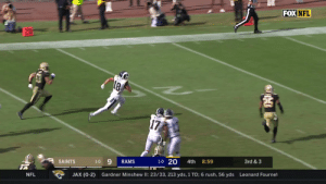 COOPER KUPP JUST DID THAT. 😱😱😱 #NOvsLAR  📺: FOX 📱: NFL app // Yahoo Sports app Watch on mobile: https://t.co/y8YLGKmeTf https://t.co/SHSsAnCjMq: FOX NFL  21  18  17  3rd & 3  8:59  4th  1-0 20  RAMS  1-0  SAINTS  Leonard Fournet  Gardner Minshew II: 23/33, 213 yds, 1 TD; 6 rush, 56 yds  JAX (0-2)  NFL COOPER KUPP JUST DID THAT. 😱😱😱 #NOvsLAR  📺: FOX 📱: NFL app // Yahoo Sports app Watch on mobile: https://t.co/y8YLGKmeTf https://t.co/SHSsAnCjMq