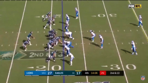 Carson Wentz held the ball so long that his entire OL ended up just standing watching him get sacked https://t.co/aPQCWcJWLj: FOX NFL  2ND &  1-0-1 27  1-1 17  LIONS  EAGLES  4th 14:06  05  2nd &13  NFL Carson Wentz held the ball so long that his entire OL ended up just standing watching him get sacked https://t.co/aPQCWcJWLj
