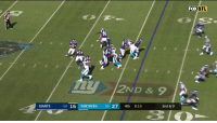 Memes, Nfl, and Giants: FOX NFL  2ND & 9  GIANTS  1-3 16 PANTHERS 21 27 4th 8:15  2nd & 9 Two defenders closing in? Doesn't matter.  Eli. @OBJ. 33 yards... SIX.  📺: FOX #GiantsPride https://t.co/kocDPbXkna