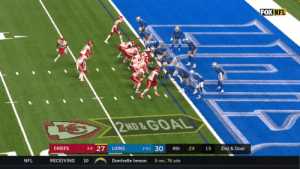 Mahomes leads the @Chiefs down the field on the go-ahead drive with 20 seconds left! #KCvsDET #ChiefsKingdom  ?: FOX ?: NFL app // Yahoo Sports app Watch free on mobile: https://t.co/lm0vvtP8ei https://t.co/Wqmg4vobUg: FOX NFL  2ND &GOAL  3-0 27  2-0-1 30  LIONS  CHIEFS  4th  24  15  2nd & Goal  NFL  RECEIVING  5 rec, 76 yds  10  Dontrelle Inman Mahomes leads the @Chiefs down the field on the go-ahead drive with 20 seconds left! #KCvsDET #ChiefsKingdom  ?: FOX ?: NFL app // Yahoo Sports app Watch free on mobile: https://t.co/lm0vvtP8ei https://t.co/Wqmg4vobUg