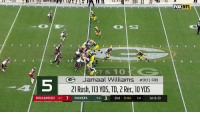 Memes, Nfl, and Packers: FOX NFL  DXNFL  5  T & 10  e Jamaal Williams #301RB  21 Rush, 113 YDS, TD, 2 Rec, 10 YDS  -4  BUCCANEERS 47 7 PACKERS 5-6 3 2nd 9:44 14 1st & 10 Top five rookie performances of Week 13! https://t.co/rPcr1ffDBY