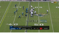 Doug, Memes, and Nfl: FOX NFL  SEA  46 Rush Yards Today (41 By Russell Wilson)  SEAHAWKS 84 O JAGUARS 8-4 3 2nd 6:21 05 1st & 10 Russell Wilson is looking for Doug Baldwin DEEP...  But @jalenramsey PICKS him off in the end zone! #Jaguars https://t.co/YFwsUCSr8a