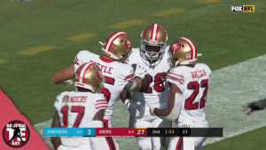 George Kittle is SO excited for #NationalTightEndsDay. 😂 @gkittle46 @49ers https://t.co/WgDhdB4RsD: FOX NFL  TLE  BRESDA  27  17  NAIONAL  6-0 27  33  PANTHERS  49ERS  2nd  1:53  23  4-2  DAY George Kittle is SO excited for #NationalTightEndsDay. 😂 @gkittle46 @49ers https://t.co/WgDhdB4RsD