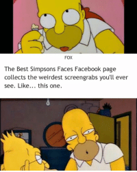 FOX  The Best Simpsons Faces Facebook page  collects the weirdest screengrabs you'll ever  see. Like  this one Bruh this shit to real😹