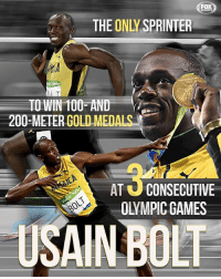 What a legendary career. Thanks for the memories, Usain Bolt! ⚡️: FOX  THE ONLY SPRINTER  TO WIN 100 AND  200-METERGOLD MEDA  AT U CONSECUTIVE  OLYMPIC GAMES  USAIN BOLT What a legendary career. Thanks for the memories, Usain Bolt! ⚡️
