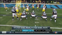 """Football, Nfl, and Sports: FOXNEL  NFL  76  5  62  68  """"IT'S THAT WHEEL ROUTE, ITS THAT WHEEL ROUTE.""""  PACKERS 6 0 PANTHERS 4 0 Ist 6:14 22 2nd & Goal  NO  Kamara: 1st rookie with 5 rush TD and 5 TD rec since Gale Sayers in 1965  NFL Can't stop watching this https://t.co/JTlSWkux7m"""