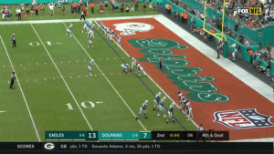 PUNTER TO KICKER TOUCHDOWN!  The @MiamiDolphins pull off the trickery! #PHIvsMIA  📺: FOX 📱: NFL app // Yahoo Sports app Watch free on mobile: https://t.co/uPnyeJSIAR https://t.co/lf4M4xFvVO: FOXNFL  oniirs  4th & Goal  06  4:44  2nd  2-9 7  DOLPHINS  5-6 13  EAGLES  Davante Adams: 3 rec, 16 yds, 1 TD  GB yds, 1 TD  SCORES PUNTER TO KICKER TOUCHDOWN!  The @MiamiDolphins pull off the trickery! #PHIvsMIA  📺: FOX 📱: NFL app // Yahoo Sports app Watch free on mobile: https://t.co/uPnyeJSIAR https://t.co/lf4M4xFvVO