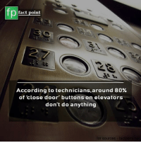 Close Door: fp  fact point  According to technicians,around 80%  of close door' buttons on elevators  don't do anything  for sources  facipo
