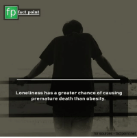 Memes, Death, and Loneliness: fp  fact point  Loneliness has a greater chance of causing  premature death than obesity.  for sources- factpoint.net