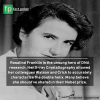 watson and crick: fp  fact point  Rosalind Franklin is the unsung hero of DNA  research. Her X-ray Crystallography allowed  her colleagues Watson and Crick to accurately  characterize the double helix. Many believe  she should've shared in their Nobel prize.  for sources - factpoint.net
