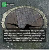 The Lid: fp  fact point  The unconfirmed record for fastest moving manmade  object is a manhole cover propelled by a nuclear detona-  tion. A high-speed camera trained on the lid caught only ;  one frame of it moving upward before it vanished-which  means it was moving about 125,000 miles per hour.  for sources -factpointinet