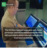 us navy: fp  fact point  The US Navy replaced expensive and clunky  periscope controls on submarines with Xbox  360 controllers, which reduced training time  rom hours to minutes  for sources  int
