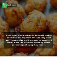 Tater Tots: fp  fact point  When Tater Tots first hit store shelves in 1956,  people did not buy them because they were  very inexpensive and there was no perceived  value. When the price was raised by stores,  people began buying the product.  or sources- faclpo