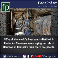 barrels: fp  FactPoint  source: factpoint.net  95% of the world's bourbon is distilled in  Kentucky. There are more aging barrels of  Bourbon in Kentucky than there are people.