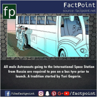 Swipe left for more facts 👉: fp  FactPoint  source: factpoint.net  All male Astronauts going to the International Space Station  from Russia are required to pee on a bus tyre prior to  launch. A tradition started by Yuri Gagarin.  /the factpoint Swipe left for more facts 👉