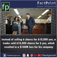Memes, 🤖, and Net: fp  FactPoint  source: factpoint.net  Instead of selling 6 shares for 610,000 yen, a  trader sold 610,000 shares for 6 yen, which  resulted in a $100M loss for his company