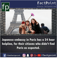 Memes, Paris, and Japanese: fp  FactPoint  source: factpoint.net  Japanese embassy in Paris has a 24 hour  helpline, for their citizens who didn't find  Paris as expected.  /thefactpoint