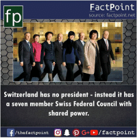 No President: fp  FactPoint  source: factpoint.net  Switzerland has no president instead it has  a seven member Swiss Federal Council with  shared power.