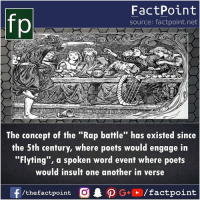 """Memes, Rap, and Rap Battle: fp  FactPoint  source: factpoint.net  The concept of the """"Rap battle"""" has existed since  the 5th century, where poets would engage in  """"Flyting"""", a spoken word event where poets  would insult one another in verse  /thefactpoint O"""