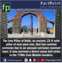 Fact sources mentioned at www.FactPoint.net- did you know fact point , education amazing dyk unknown facts daily facts💯 didyouknow follow follow4follow earth science commonsense f4f factpoint instafact awesome world worldfacts like like4ike tag friends Don't forget to tag your friends 👍: fp  FactPoint  source: factpoint.net  The Iron Pillar of Delhi, an ancient, 23 ft solid  pillar of near pure iron, that has resisted  corrosion due to an unusual corrosion resistant  layer. It also survived a direct canon ball strike  in the 1700s from Muslim invaders Fact sources mentioned at www.FactPoint.net- did you know fact point , education amazing dyk unknown facts daily facts💯 didyouknow follow follow4follow earth science commonsense f4f factpoint instafact awesome world worldfacts like like4ike tag friends Don't forget to tag your friends 👍