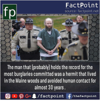 Record holder burglar 😯: fp  FactPoint  source: factpoint.net  The man that (probably] holds the record for the  most burglaries committed was a hermit that lived  in the Maine woods and avoided human contact for  almost 30 years.  G4/factpo  int F/thefactpoint Record holder burglar 😯