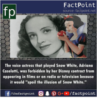 "Disney, Memes, and Radio: fp  FactPoint  source: factpoint.net  The voice actress that played Snow White, Adriana  Caselotti, was forbidden by her Disney contract from  appearing in films or on radio or television because  it would ""spoil the illusion of Snow White."""